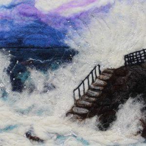 Greystones crashing waves in felt