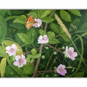 Spring Hedgerow with fluttering butterfly