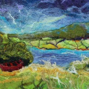 Red boat felt painting
