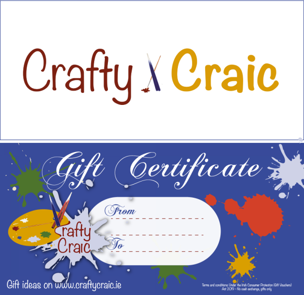 Colourful gift certificate for crafty craic